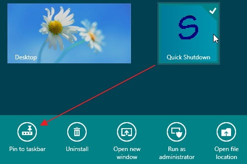 Adding-Quick-Shutdown-icon-to-the-taskbar-from-the-Start-screen