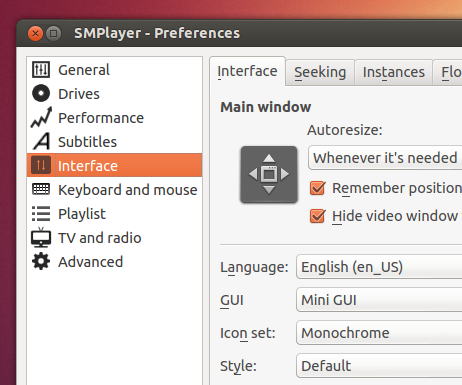 'Preferences' window - SMPlayer