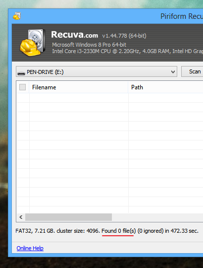 'Recuva' fails to recover files after using 'KWipe'