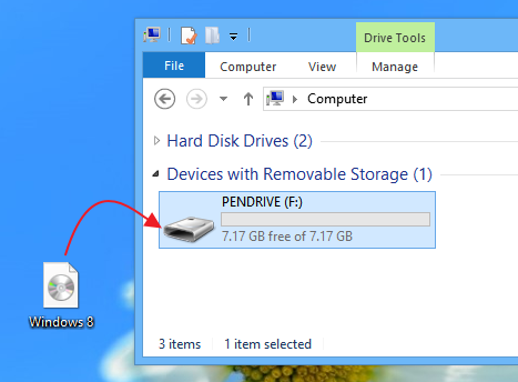 Trying to put Windows 8 disc image into a USB drive