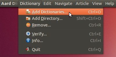 Adding a dictionary in 'Aard'