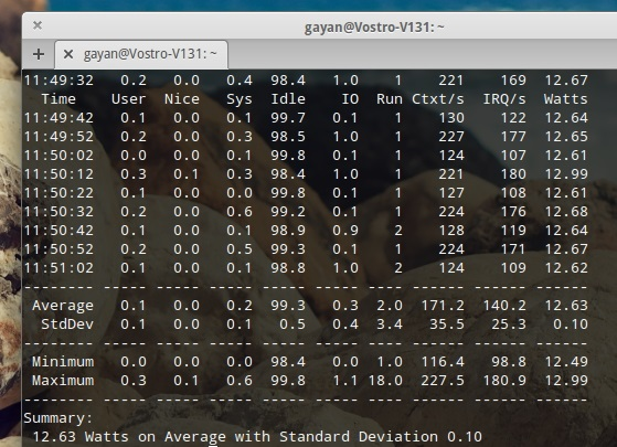 'powerstat' readings on power consumption at idle - EOS Luna