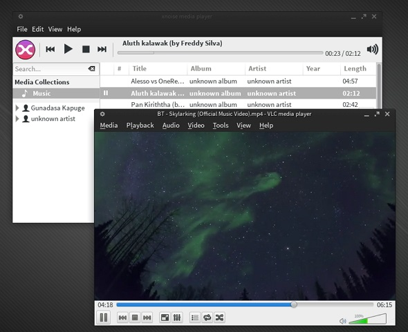 VLC-Xnoise-running-on-Manjaro-0.8.7.1