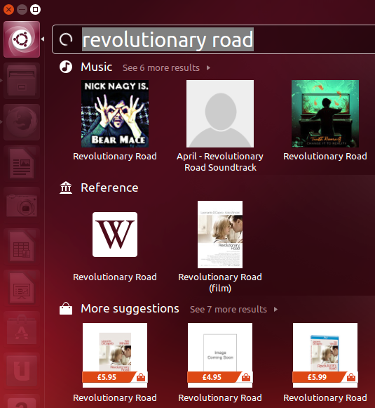 Search query example in 'Smart Scopes' on Ubuntu 13.10
