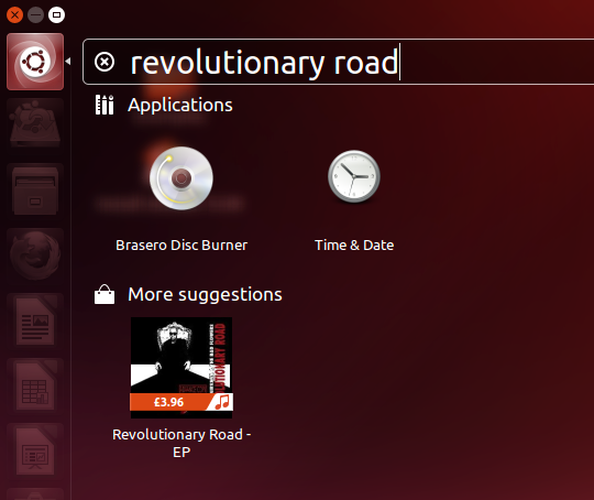 Here's the same search query in Ubuntu 13.04 (without 'Smart Scopes') ...