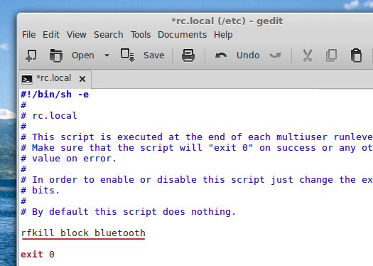 Fixing the Bluetooth always turned ON problem in 'LMDE 2014 Cinnamon'