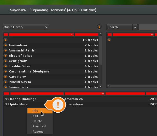 Music library doesn't highlight selected items in Sayonara 0.6.6
