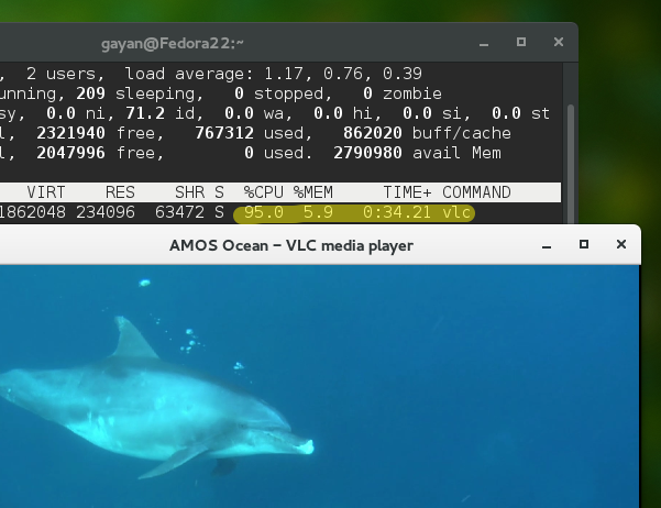 VLC playing HD video without hardware acceleration on Fedora 22