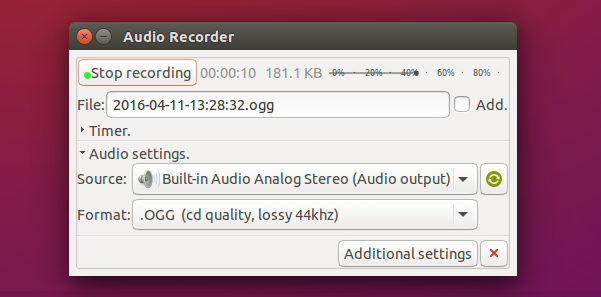 Audio-Recorder-1.7-running-on-Ubuntu-15.10