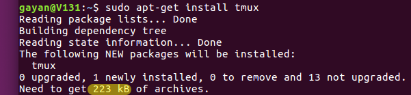 tmux-installation-size-using-the-traditional-apt-get-Ubuntu-16.04-LTS