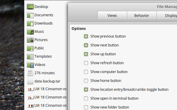 Compact-View-and-other-tool-bar-customization-options-in-Nemo-Linux-Mint-18