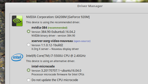 Driver-manager-in-Linux-Mint-18.3