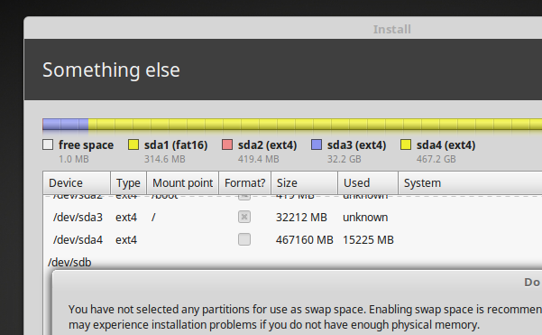 Linux-Mint-18.3-installer-warning-about-not-creating-a-Swap-Space