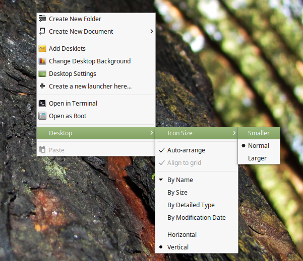 New-desktop-context-menu-Linux-Mint-18.3-Cinnamon-3.6-desktop-shell
